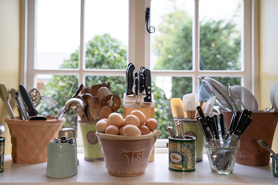 Still life of eggs, spoons and kitchen utensils at Food of Course cookery school