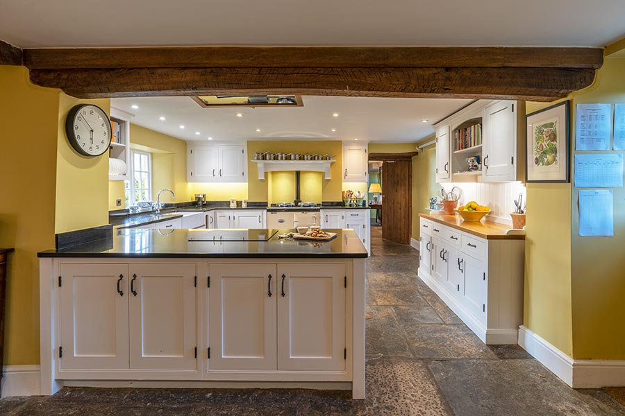 The kitchen at Food of Course cookery school near Bruton, England