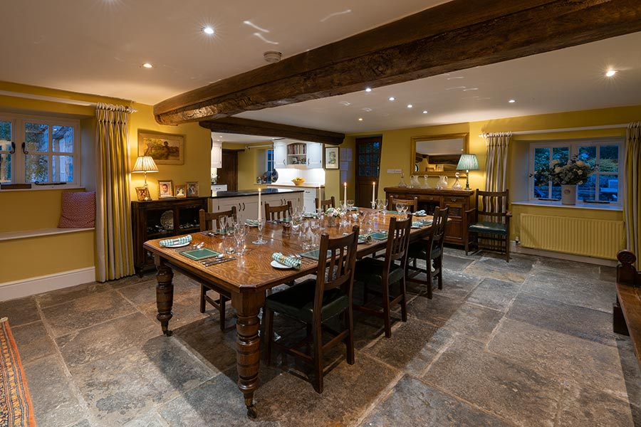 The dining room at Middle farm House near Bruton