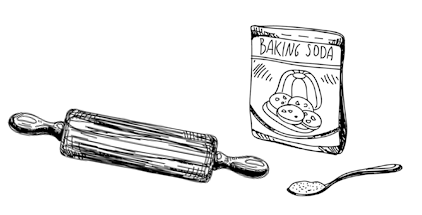 Hand drawn illustration of a rolling pin and a packet of baking soda.