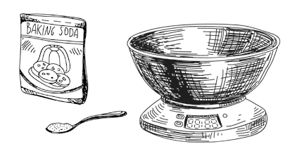 Hand drawn illustration of some kitchen scales and a packet of baking soda.