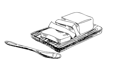 Hand drawn illustration of butter in a dish with a wooden butter knife