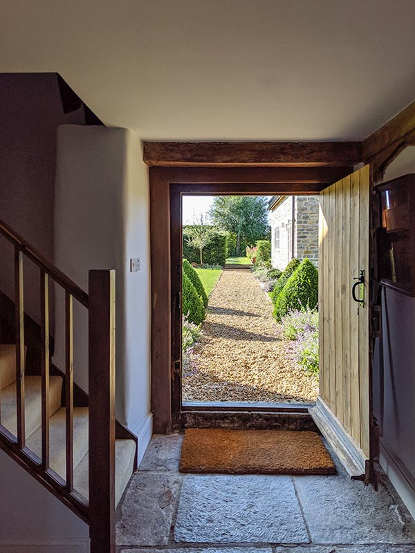 Doorway to the garden at Middle Farm House near Bruton